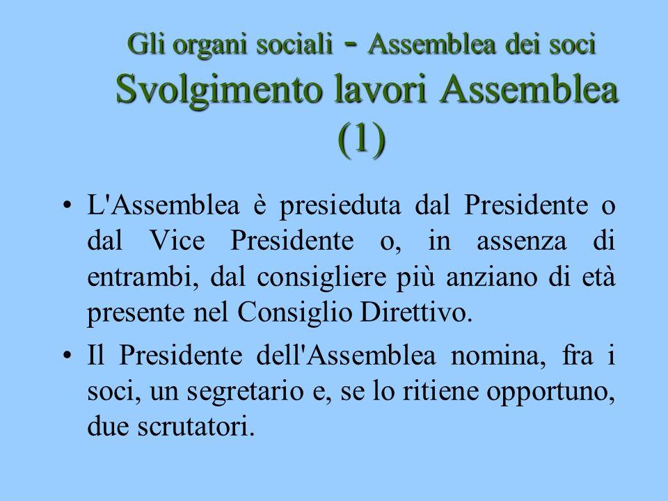 Gli organi sociali - Assemblea dei soci Svolgimento lavori Assemblea (1) L'Assemblea è presieduta dal Presidente o dal Vice Presidente o, in assenza d