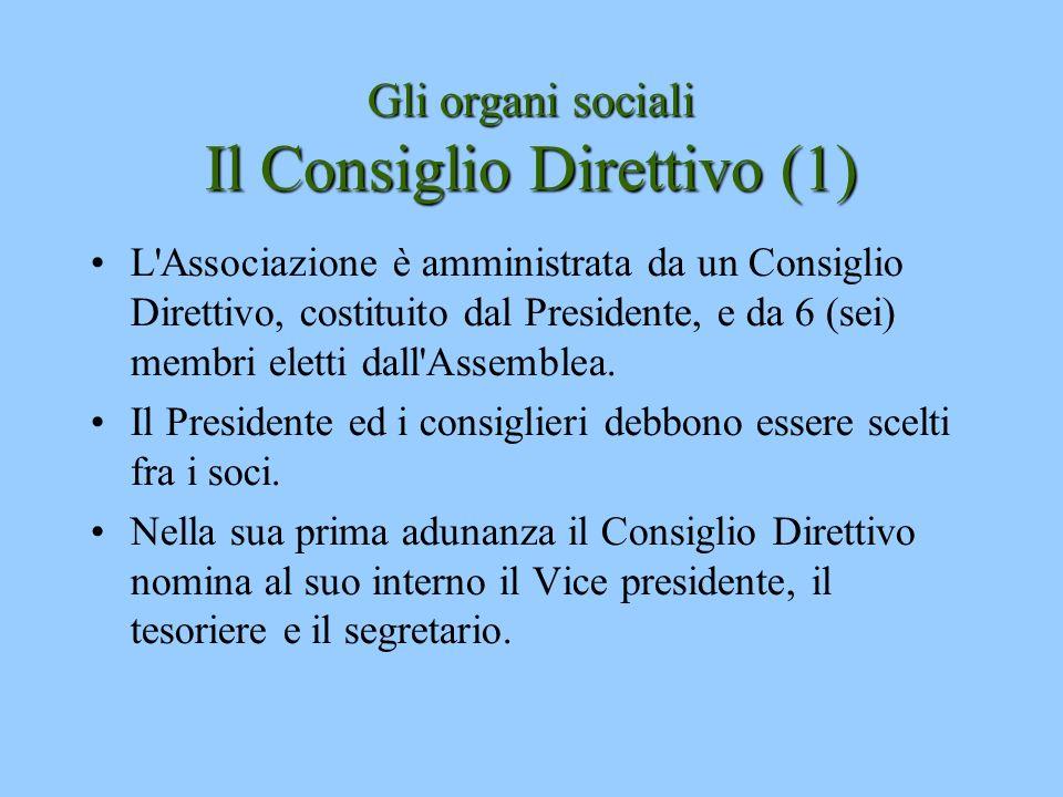Gli organi sociali Il Consiglio Direttivo (1) L'Associazione è amministrata da un Consiglio Direttivo, costituito dal Presidente, e da 6 (sei) membri