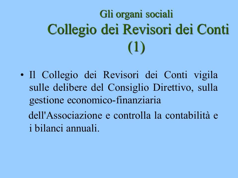 Gli organi sociali Collegio dei Revisori dei Conti (1) Il Collegio dei Revisori dei Conti vigila sulle delibere del Consiglio Direttivo, sulla gestion