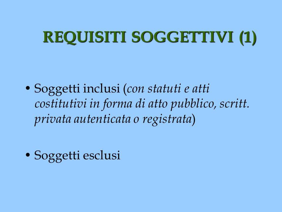 REQUISITI SOGGETTIVI (1) Soggetti inclusi ( con statuti e atti costitutivi in forma di atto pubblico, scritt. privata autenticata o registrata ) Sogge