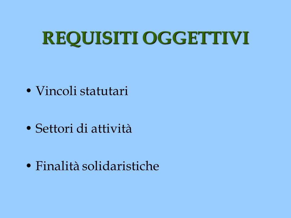 REQUISITI OGGETTIVI Vincoli statutari Settori di attività Finalità solidaristiche