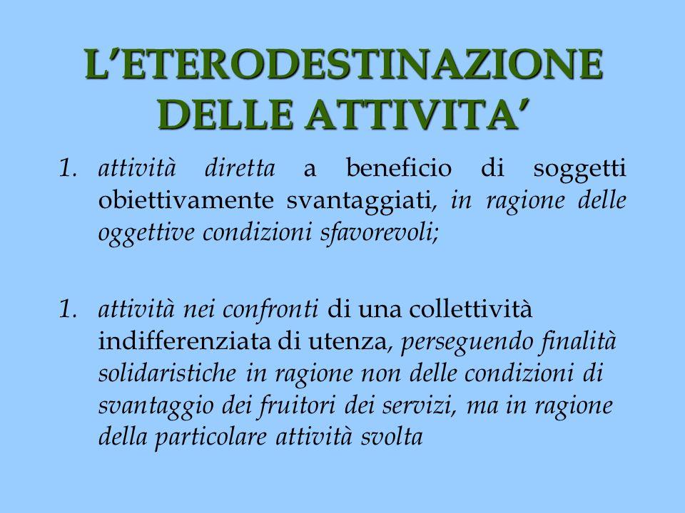 LETERODESTINAZIONE DELLE ATTIVITA 1. attività diretta a beneficio di soggetti obiettivamente svantaggiati, in ragione delle oggettive condizioni sfavo