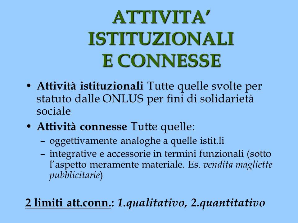 ATTIVITA ISTITUZIONALI E CONNESSE Attività istituzionali Tutte quelle svolte per statuto dalle ONLUS per fini di solidarietà sociale Attività connesse