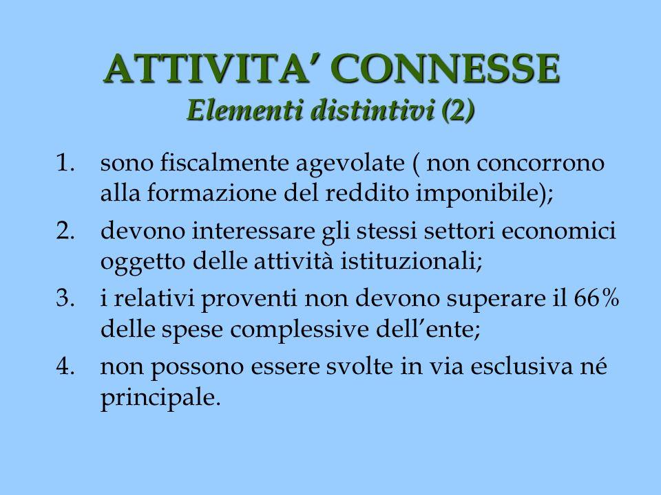 ATTIVITA CONNESSE Elementi distintivi (2) 1.sono fiscalmente agevolate ( non concorrono alla formazione del reddito imponibile); 2.devono interessare