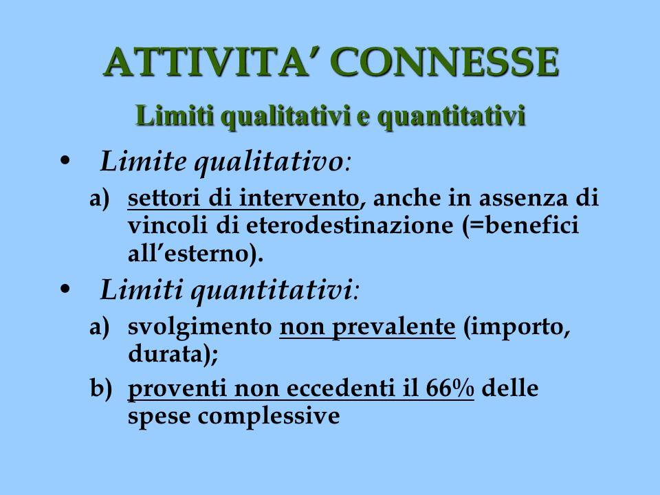 ATTIVITA CONNESSE Limiti qualitativi e quantitativi Limite qualitativo : a) settori di intervento, anche in assenza di vincoli di eterodestinazione (=