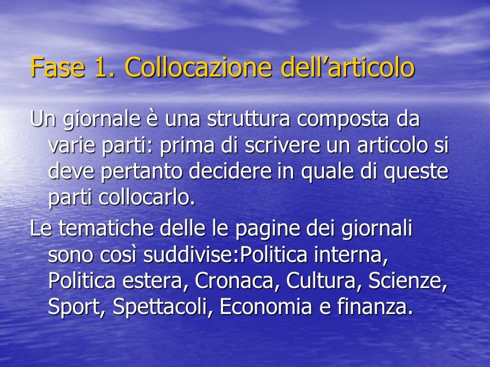 Fase 1. Collocazione dellarticolo Un giornale è una struttura composta da varie parti: prima di scrivere un articolo si deve pertanto decidere in qual