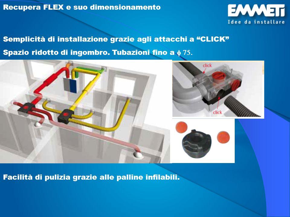Recupera FLEX e suo dimensionamento Semplicità di installazione grazie agli attacchi a CLICK Spazio ridotto di ingombro. Tubazioni fino a Facilità di