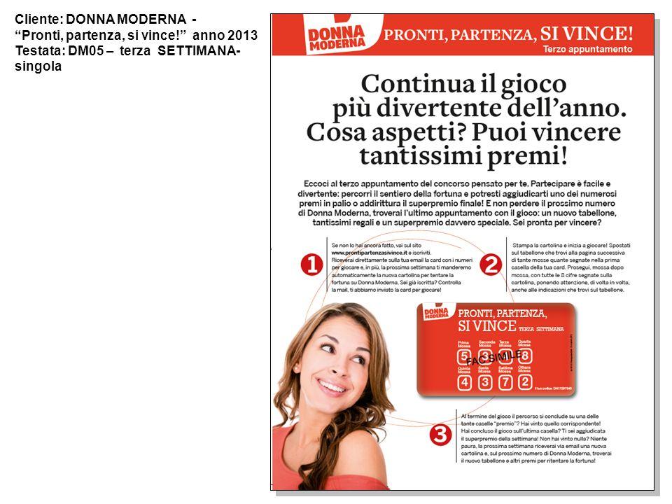 Cliente: DONNA MODERNA - Pronti, partenza, si vince! anno 2013 Testata: DM05 – terza SETTIMANA- singola