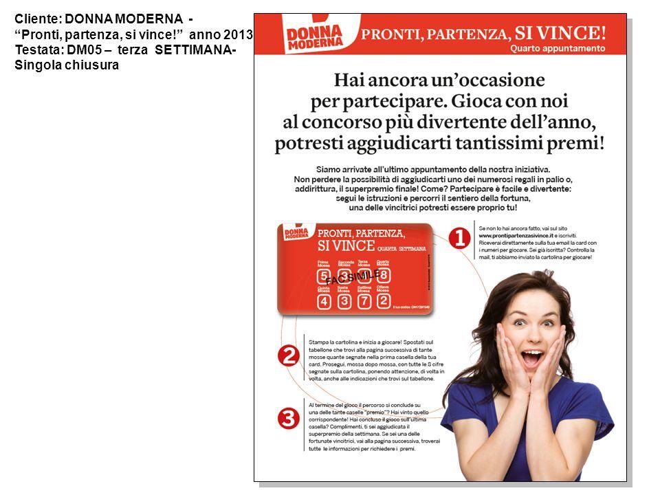 Cliente: DONNA MODERNA - Pronti, partenza, si vince! anno 2013 Testata: DM05 – terza SETTIMANA- Singola chiusura