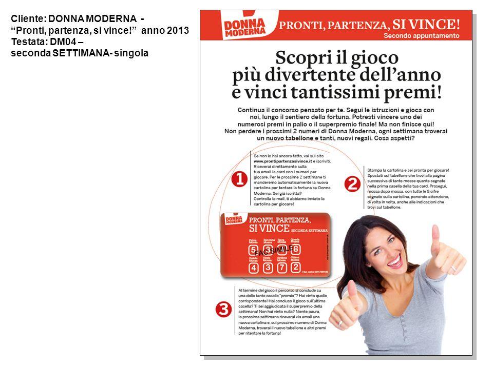 Cliente: DONNA MODERNA - Pronti, partenza, si vince! anno 2013 Testata: DM04 – seconda SETTIMANA- singola