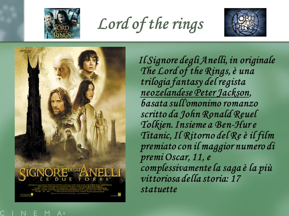 Lord of the rings Il Signore degli Anelli, in originale The Lord of the Rings, è una trilogia fantasy del regista neozelandese Peter Jackson, basata s