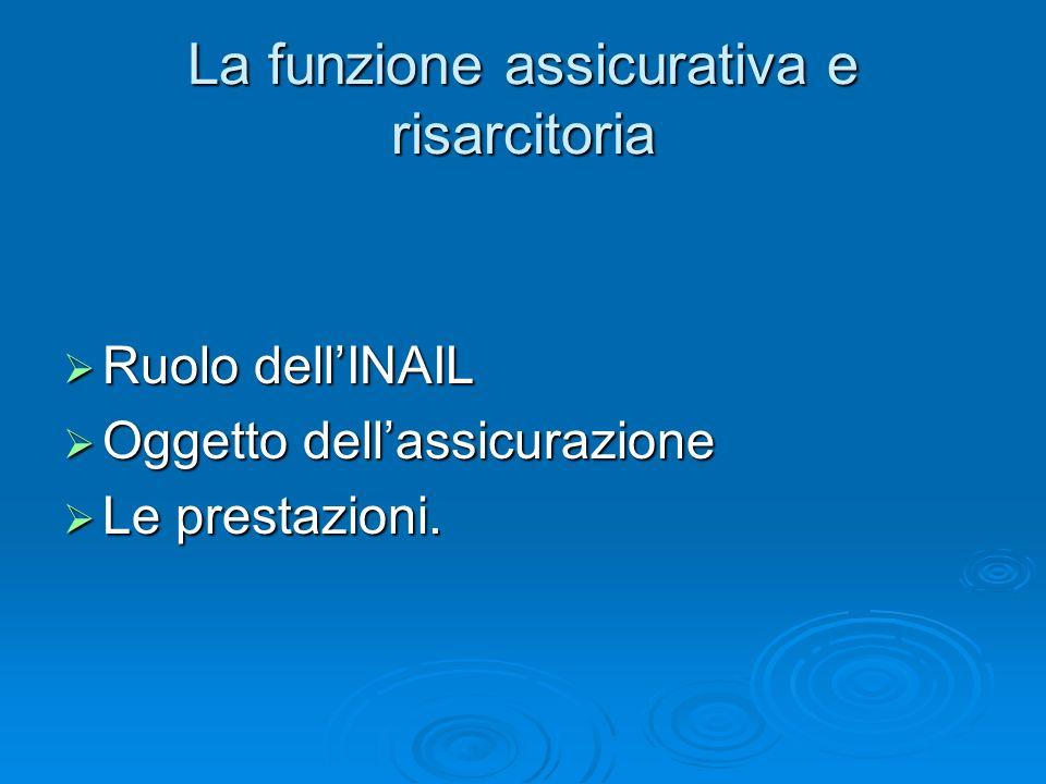 La funzione assicurativa e risarcitoria Ruolo dellINAIL Ruolo dellINAIL Oggetto dellassicurazione Oggetto dellassicurazione Le prestazioni. Le prestaz