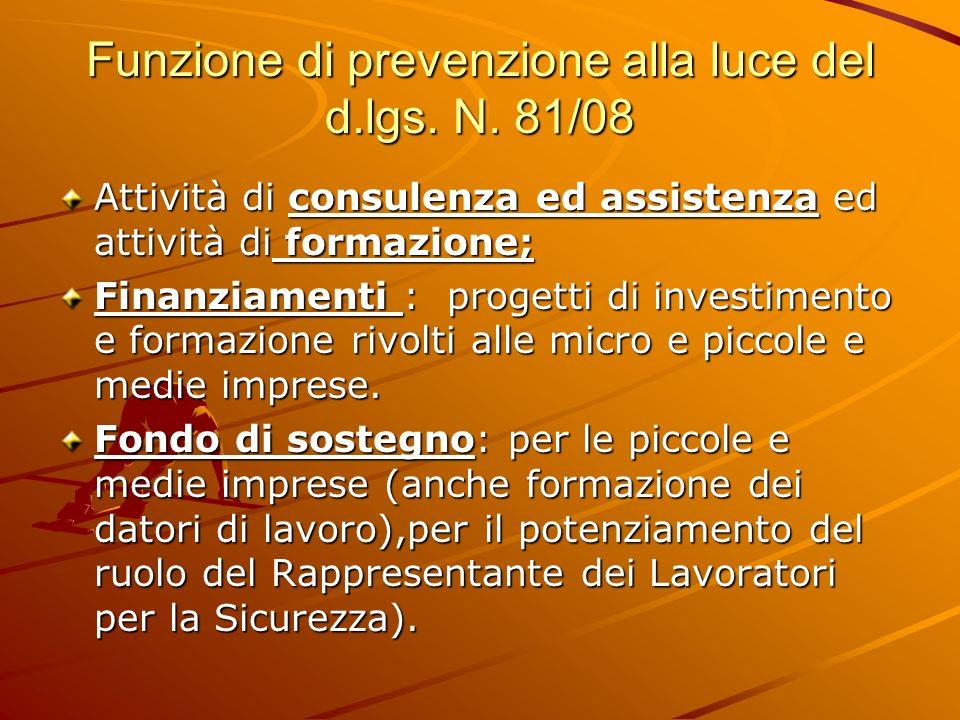 Funzione di prevenzione alla luce del d.lgs. N. 81/08 Attività di consulenza ed assistenza ed attività di formazione; Finanziamenti : progetti di inve