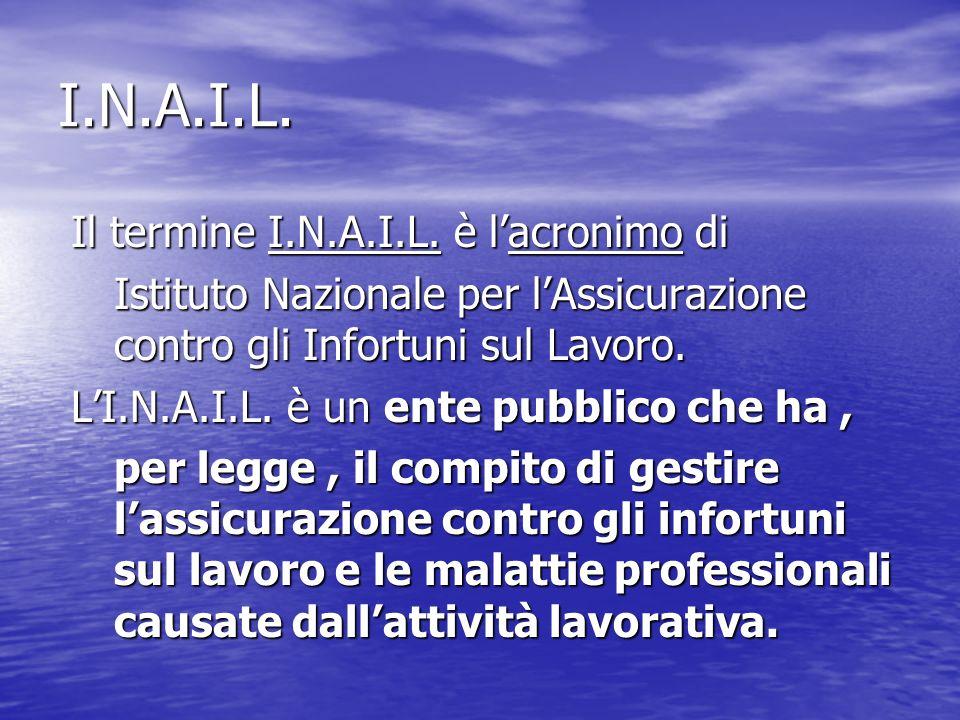 I.N.A.I.L. Il termine I.N.A.I.L. è lacronimo di Il termine I.N.A.I.L. è lacronimo di Istituto Nazionale per lAssicurazione contro gli Infortuni sul La