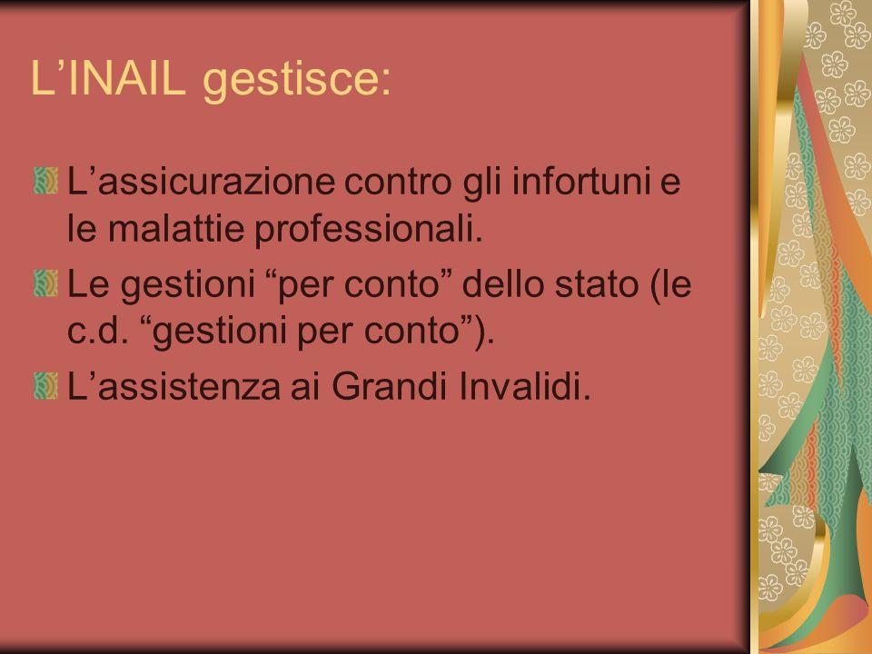 LINAIL gestisce: Lassicurazione contro gli infortuni e le malattie professionali. Le gestioni per conto dello stato (le c.d. gestioni per conto). Lass