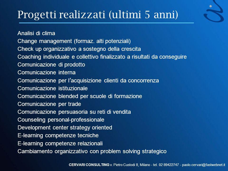 Progetti realizzati (ultimi 5 anni) CERVARI CONSULTING v. Pietro Custodi 8, Milano - tel. 02 89422747 - paolo.cervari@fastwebnet.it Analisi di clima C