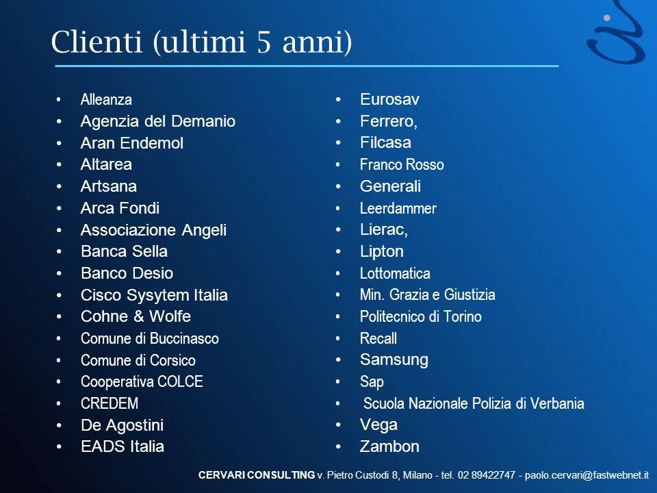 Clienti (ultimi 5 anni) Alleanza Agenzia del Demanio Aran Endemol Altarea Artsana Arca Fondi Associazione Angeli Banca Sella Banco Desio Cisco Sysytem