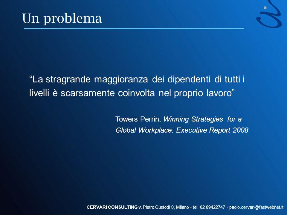 Un problema La stragrande maggioranza dei dipendenti di tutti i livelli è scarsamente coinvolta nel proprio lavoro CERVARI CONSULTING v. Pietro Custod