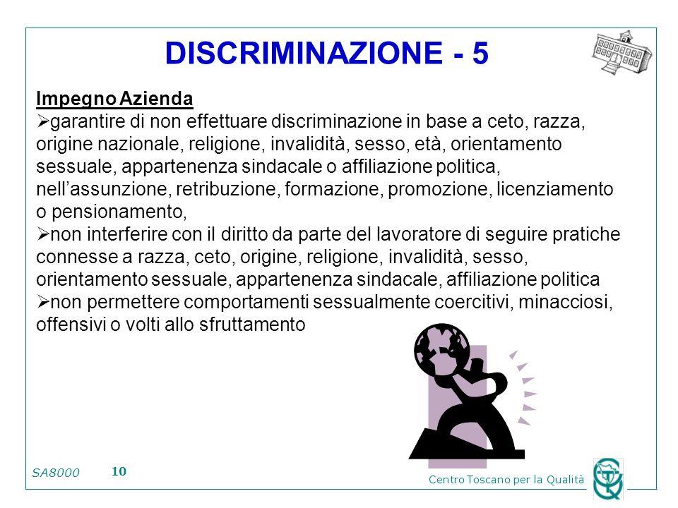 SA8000 Centro Toscano per la Qualità 10 DISCRIMINAZIONE - 5 Impegno Azienda garantire di non effettuare discriminazione in base a ceto, razza, origine