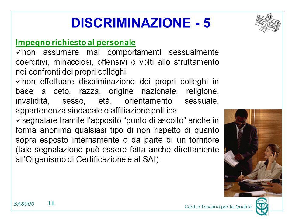 SA8000 Centro Toscano per la Qualità 11 DISCRIMINAZIONE - 5 Impegno richiesto al personale non assumere mai comportamenti sessualmente coercitivi, min