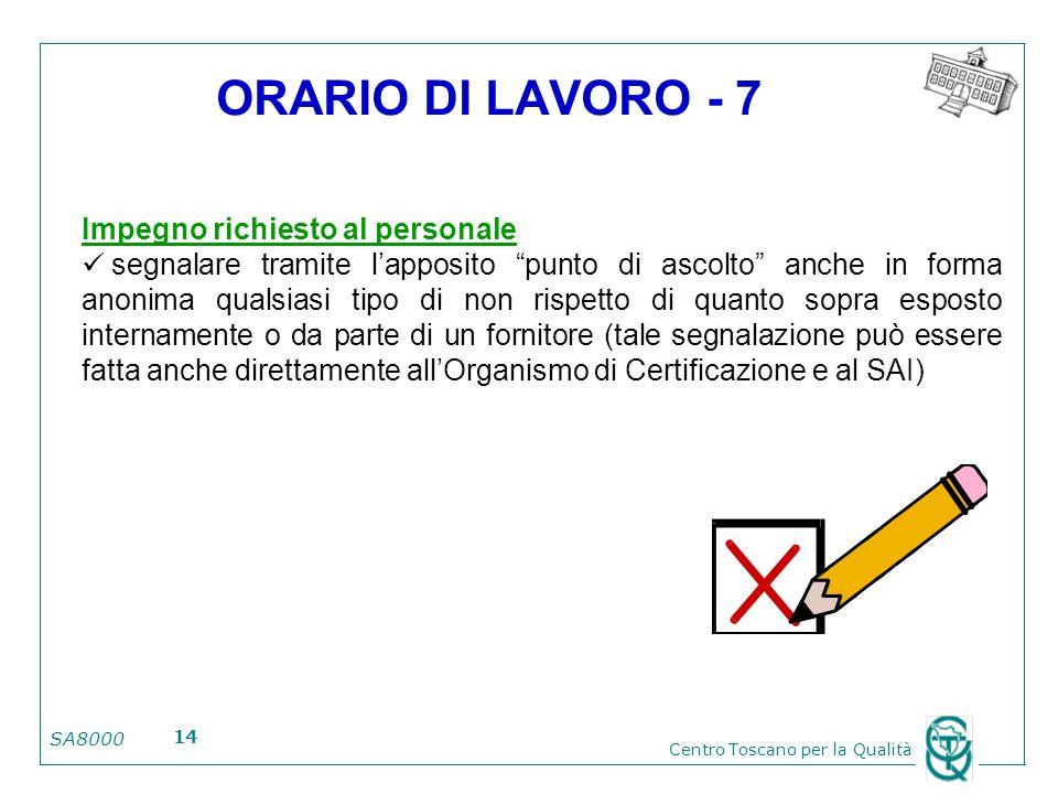 SA8000 Centro Toscano per la Qualità 14 ORARIO DI LAVORO - 7 Impegno richiesto al personale segnalare tramite lapposito punto di ascolto anche in form