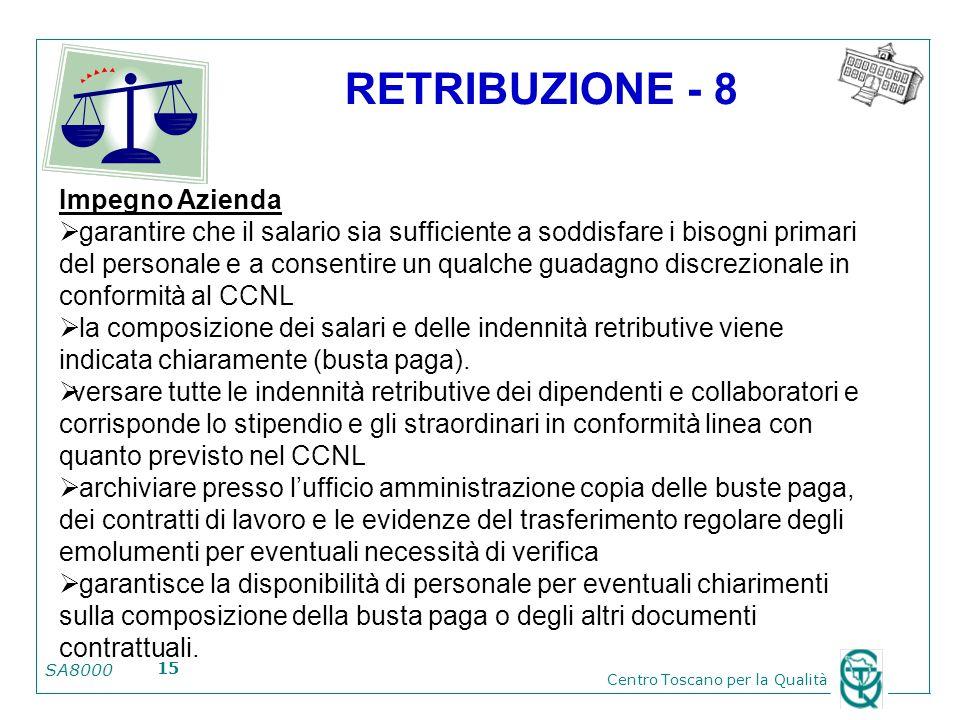 SA8000 Centro Toscano per la Qualità 15 RETRIBUZIONE - 8 Impegno Azienda garantire che il salario sia sufficiente a soddisfare i bisogni primari del p