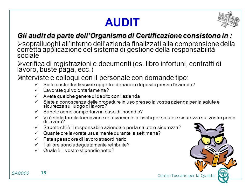 SA8000 Centro Toscano per la Qualità 19 AUDIT Gli audit da parte dellOrganismo di Certificazione consistono in : sopralluoghi allinterno dellazienda f