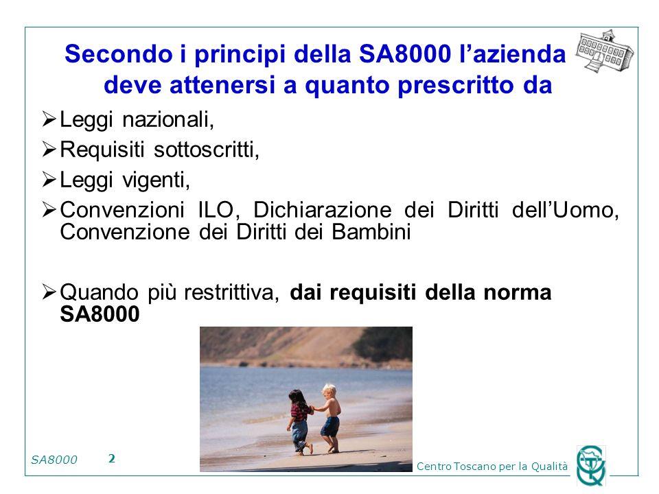SA8000 Centro Toscano per la Qualità 2 Secondo i principi della SA8000 lazienda deve attenersi a quanto prescritto da Leggi nazionali, Requisiti sotto