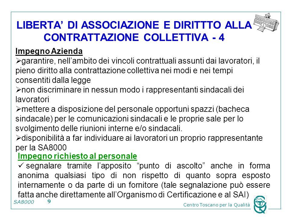 SA8000 Centro Toscano per la Qualità 9 LIBERTA DI ASSOCIAZIONE E DIRITTTO ALLA CONTRATTAZIONE COLLETTIVA - 4 Impegno Azienda garantire, nellambito dei