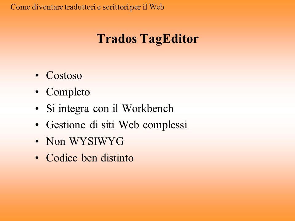 Web editor (Macromedia Dreamweaver) Costoso Completo Intuitivo Semplice WYSIWYG Come diventare traduttori e scrittori per il Web
