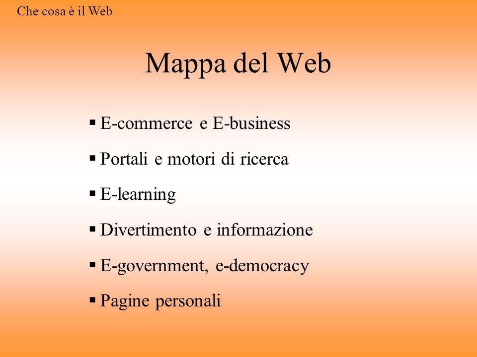 Mappa del Web E-commerce e E-business Portali e motori di ricerca E-learning Divertimento e informazione E-government, e-democracy Pagine personali Che cosa è il Web