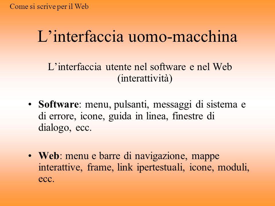 Linterfaccia uomo-macchina Linterfaccia utente nel software e nel Web (interattività) Software: menu, pulsanti, messaggi di sistema e di errore, icone, guida in linea, finestre di dialogo, ecc.