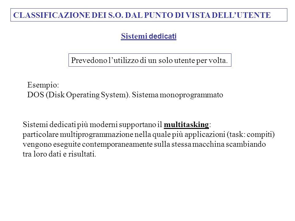 CLASSIFICAZIONE DEI S.O. DAL PUNTO DI VISTA DELLUTENTE Prevedono lutilizzo di un solo utente per volta. Sistemi dedicati Esempio: DOS (Disk Operating