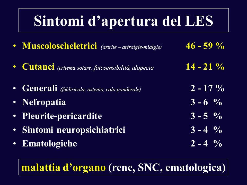 Sintomi dapertura del LES Muscoloscheletrici ( artrite – artralgie-mialgie) 46 - 59 % Cutanei (eritema solare, fotosensibilità, alopecia 14 - 21 % Gen