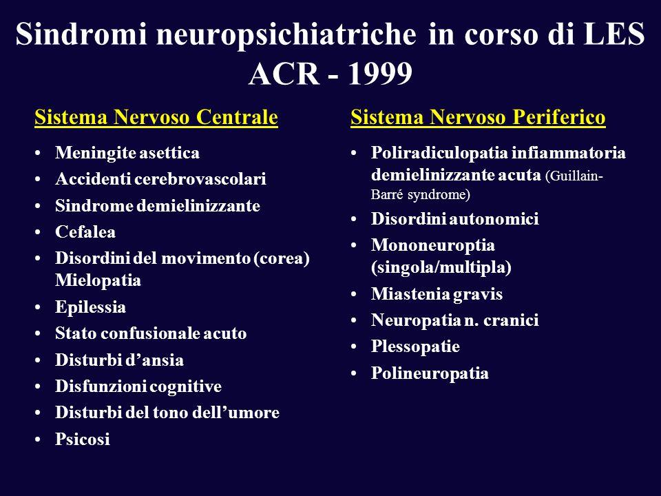 Sindromi neuropsichiatriche in corso di LES ACR - 1999 Sistema Nervoso CentraleSistema Nervoso Periferico Meningite asettica Accidenti cerebrovascolar