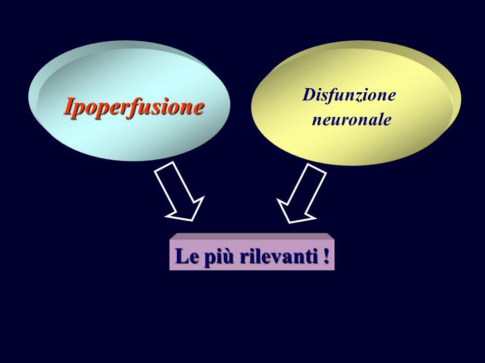 Ipoperfusione Disfunzione neuronale Le più rilevanti !