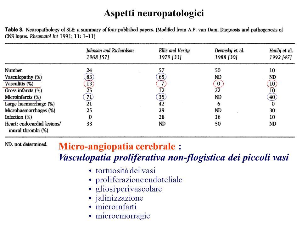 Aspetti neuropatologici Micro-angiopatia cerebrale : Vasculopatia proliferativa non-flogistica dei piccoli vasi tortuosità dei vasi proliferazione end