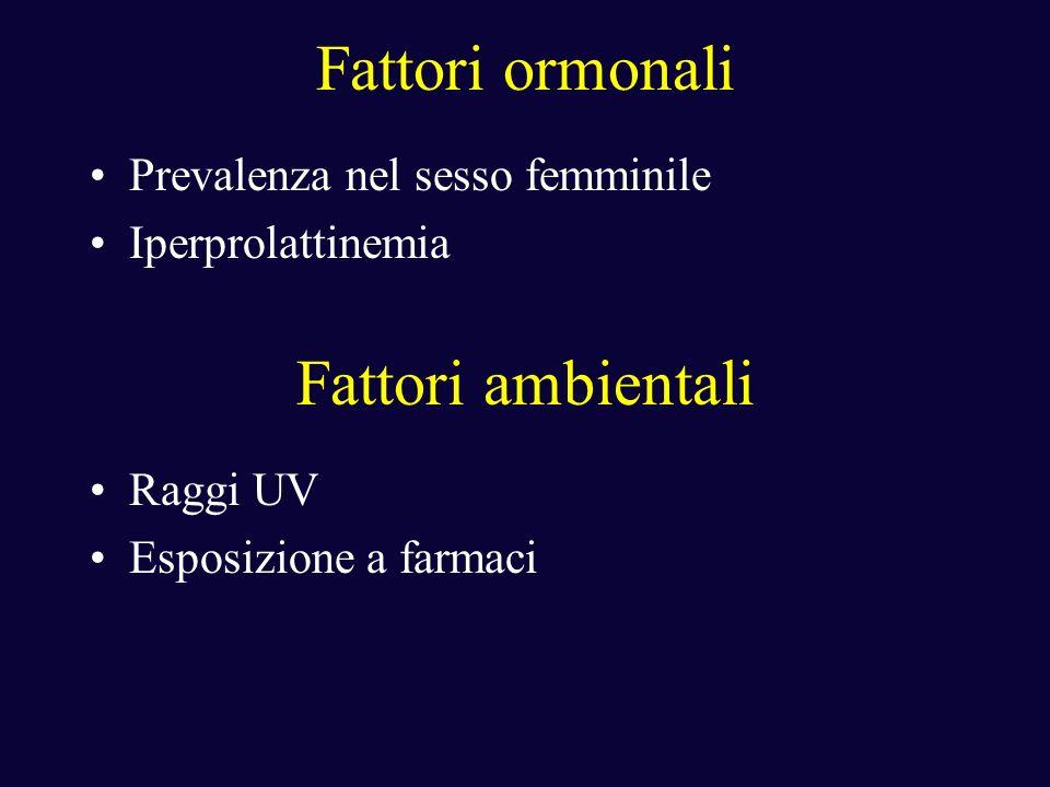 Fattori ormonali Prevalenza nel sesso femminile Iperprolattinemia Fattori ambientali Raggi UV Esposizione a farmaci