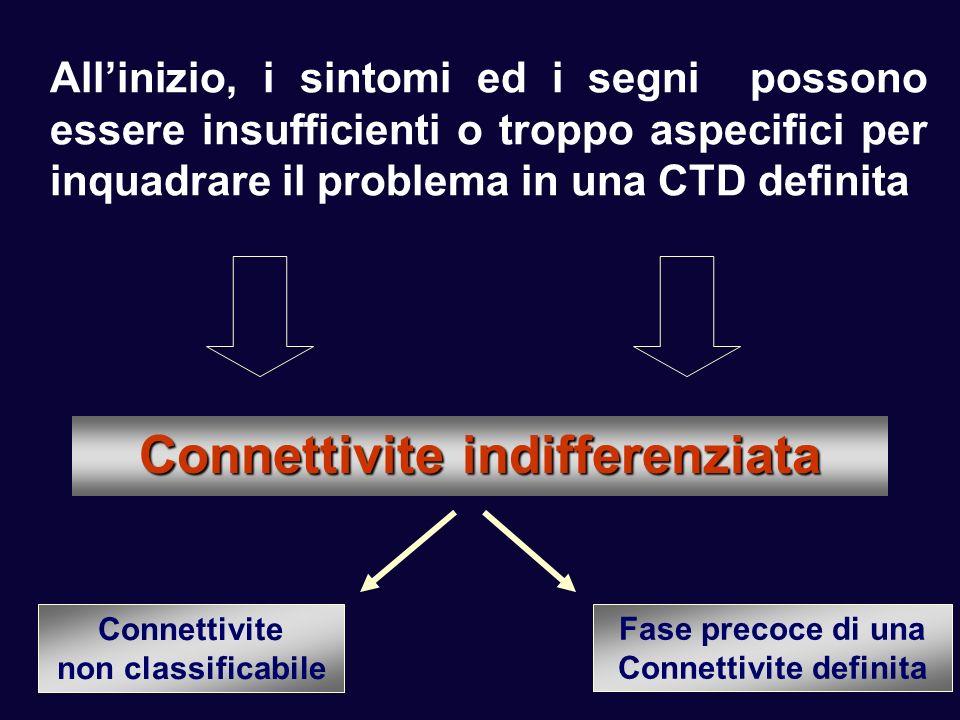 Allinizio, i sintomi ed i segni possono essere insufficienti o troppo aspecifici per inquadrare il problema in una CTD definita Connettivite indiffere