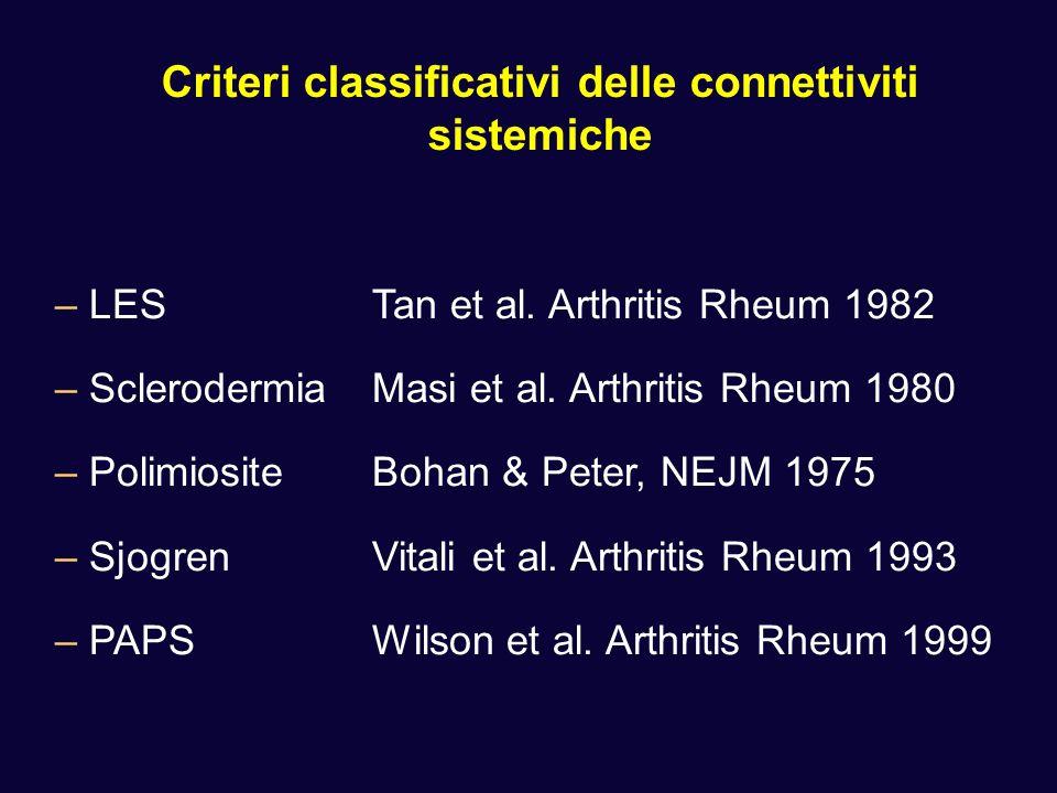 Criteri classificativi delle connettiviti sistemiche –LESTan et al. Arthritis Rheum 1982 –SclerodermiaMasi et al. Arthritis Rheum 1980 –PolimiositeBoh