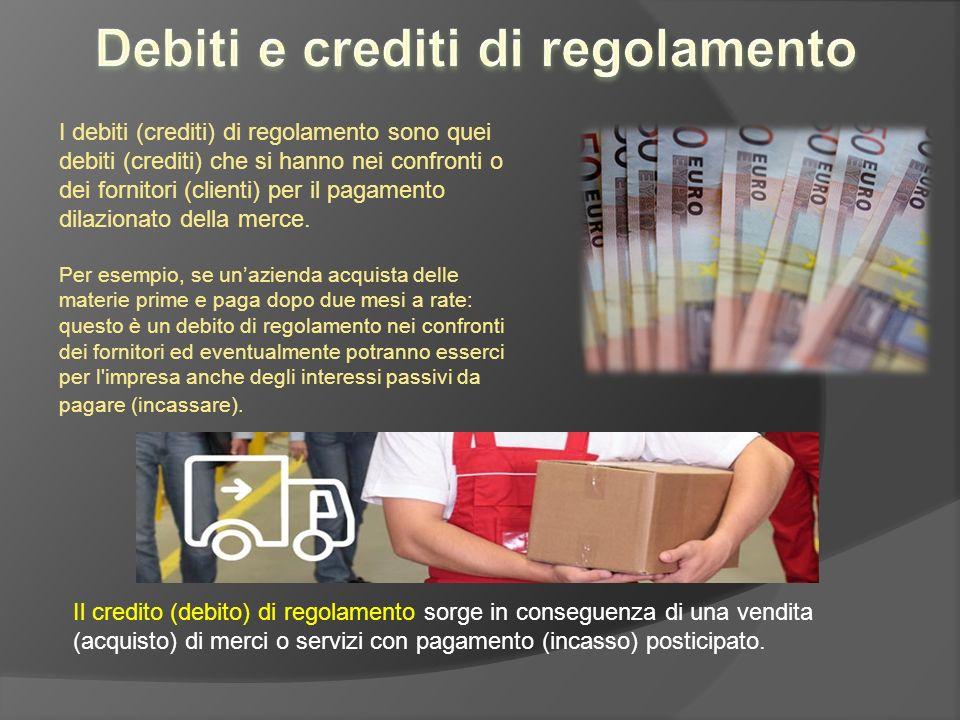 I debiti (crediti) di regolamento sono quei debiti (crediti) che si hanno nei confronti o dei fornitori (clienti) per il pagamento dilazionato della m