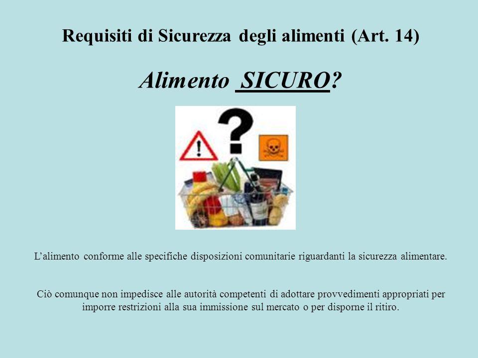 Lalimento conforme alle specifiche disposizioni comunitarie riguardanti la sicurezza alimentare. Ciò comunque non impedisce alle autorità competenti d