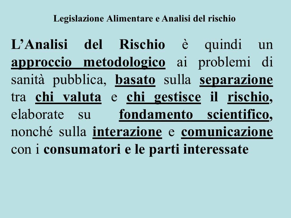 LAnalisi del Rischio è quindi un approccio metodologico ai problemi di sanità pubblica, basato sulla separazione tra chi valuta e chi gestisce il risc