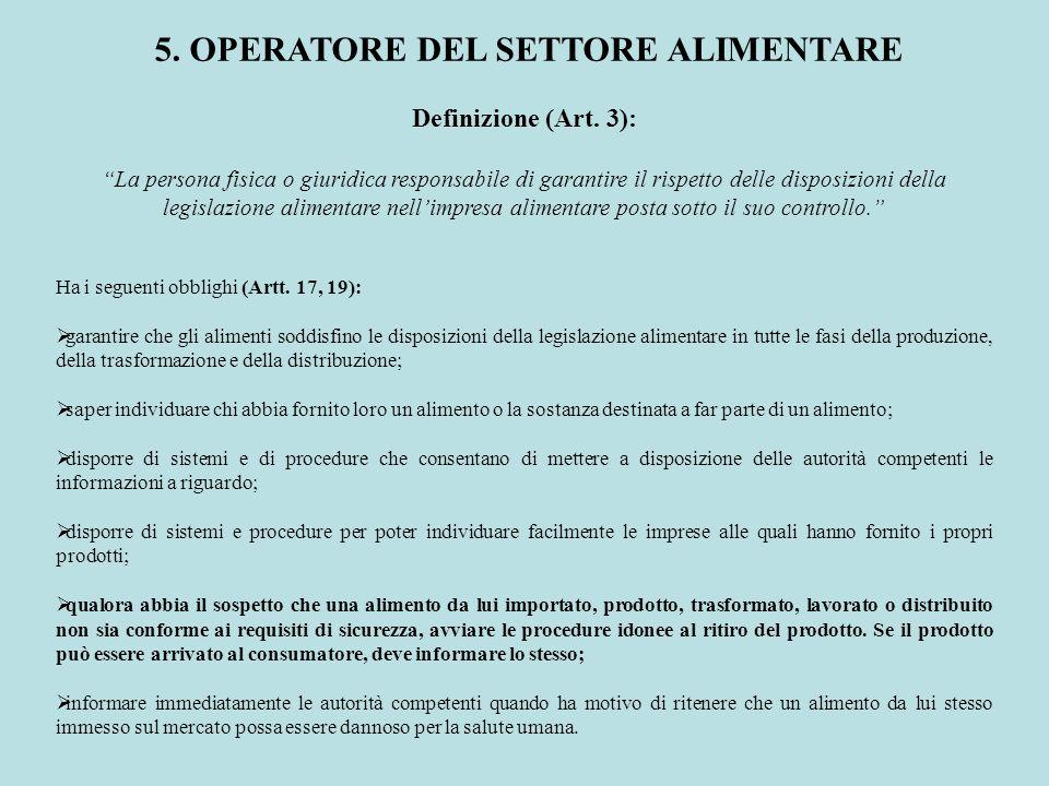 Definizione (Art. 3): La persona fisica o giuridica responsabile di garantire il rispetto delle disposizioni della legislazione alimentare nellimpresa