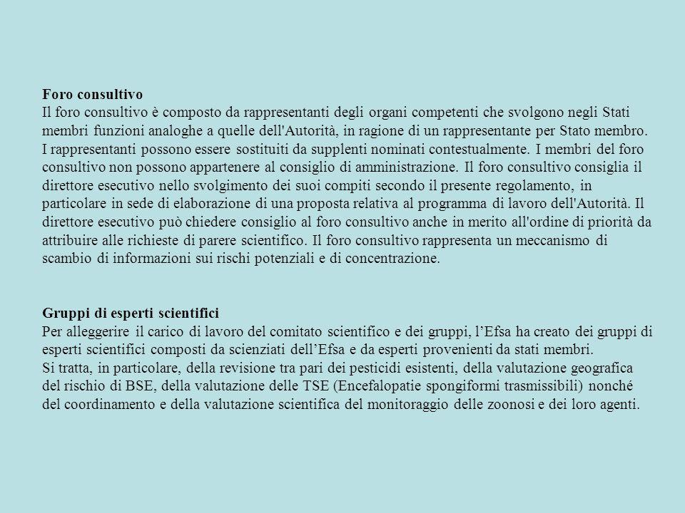 Foro consultivo Il foro consultivo è composto da rappresentanti degli organi competenti che svolgono negli Stati membri funzioni analoghe a quelle del