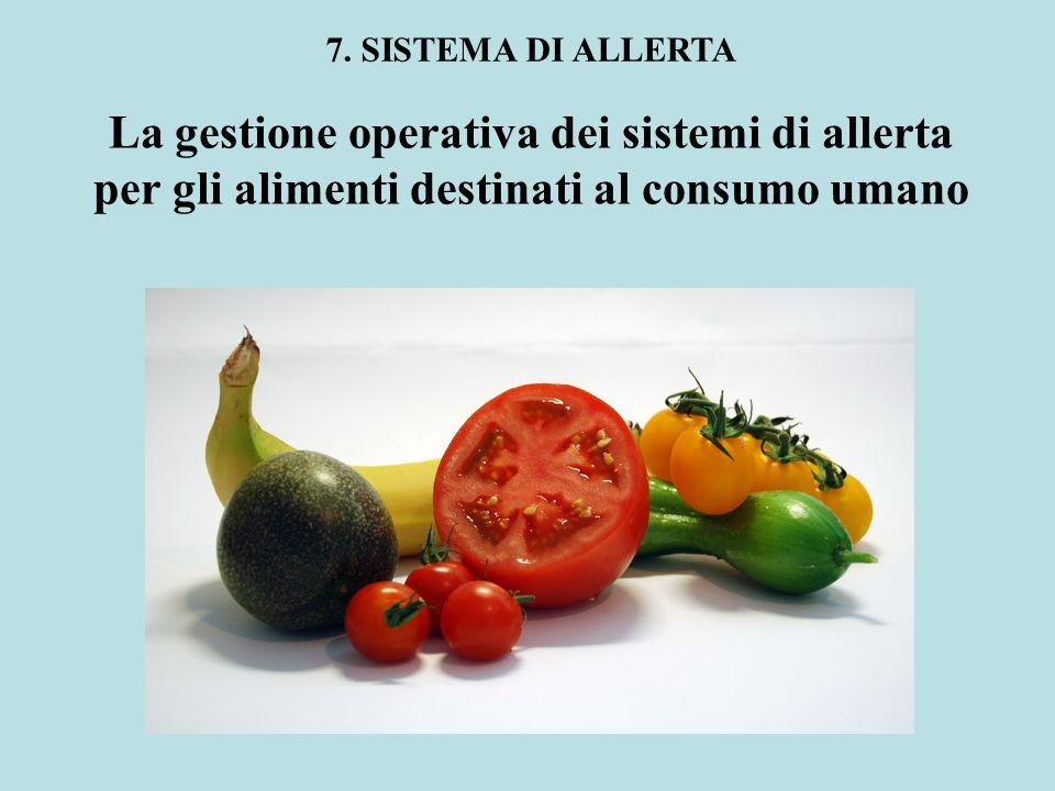 La gestione operativa dei sistemi di allerta per gli alimenti destinati al consumo umano 7. SISTEMA DI ALLERTA