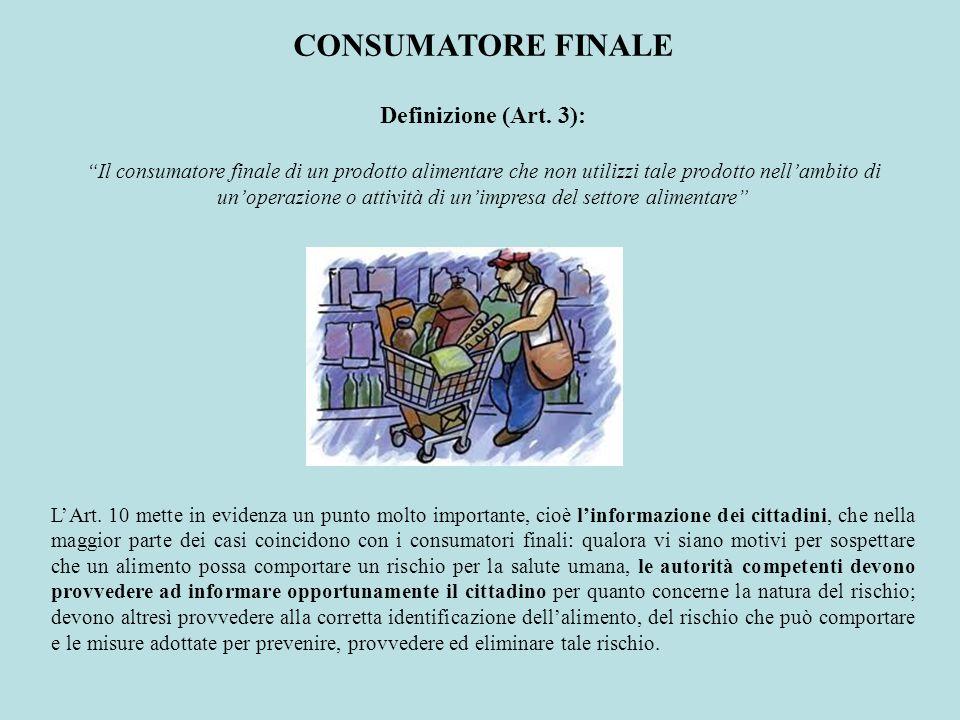 Definizione (Art. 3): Il consumatore finale di un prodotto alimentare che non utilizzi tale prodotto nellambito di unoperazione o attività di unimpres