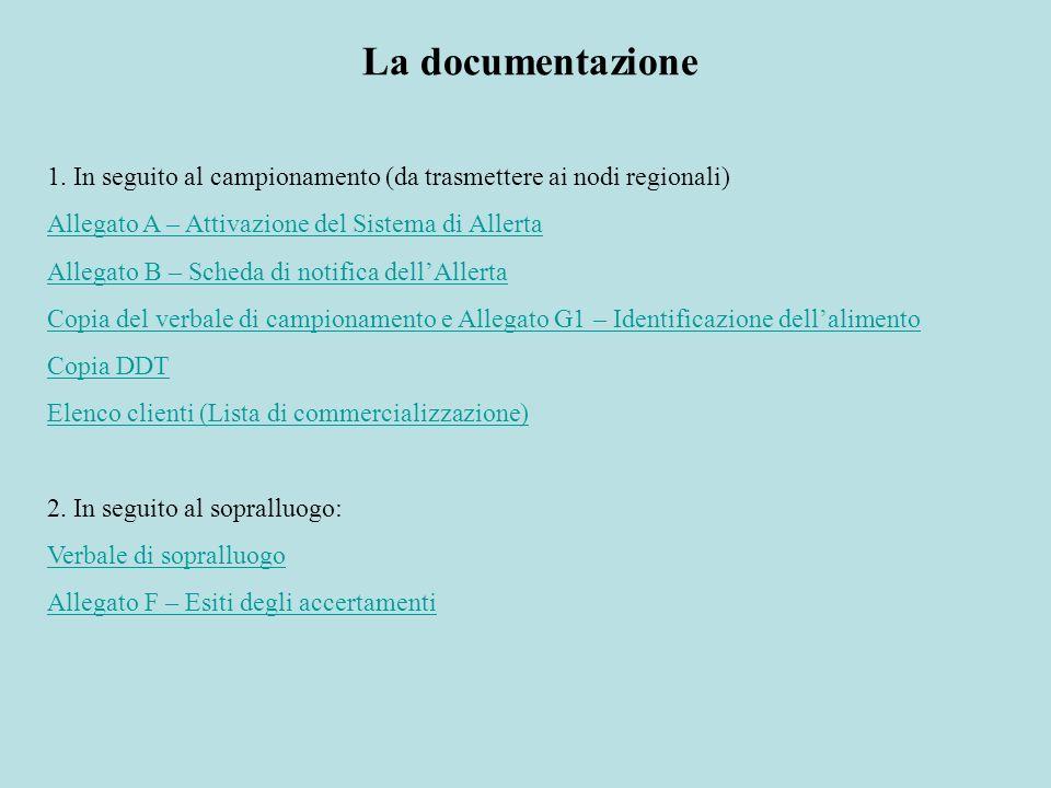 La documentazione 1. In seguito al campionamento (da trasmettere ai nodi regionali) Allegato A – Attivazione del Sistema di Allerta Allegato B – Sched