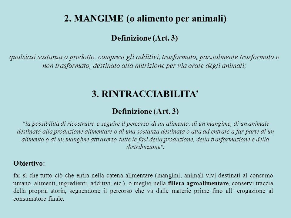 2. MANGIME (o alimento per animali) Definizione (Art. 3) qualsiasi sostanza o prodotto, compresi gli additivi, trasformato, parzialmente trasformato o