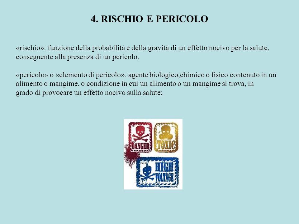 4. RISCHIO E PERICOLO «rischio»: funzione della probabilità e della gravità di un effetto nocivo per la salute, conseguente alla presenza di un perico